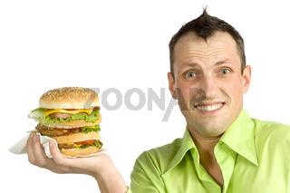 man with hamburger