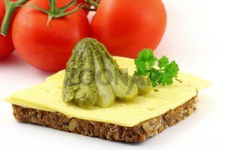 Brot mit Kaese gurke und Petersilie, bread with Cheese pickle and parsley