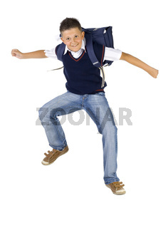 Jumping school boy