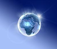 Blaue leuchtende Erde