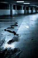 Empty and wet underground parking.