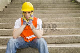 Bauarbeiter auf Treppe