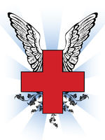 First aid red cross with wing and effects