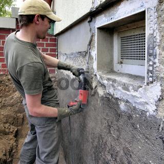 Bauarbeiter mit Boschhammer