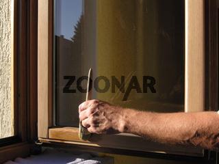 Fenster Pinselanstrich Holzlasursanierung