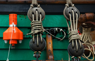 Fragment of equipment of an old sailing vessel