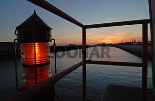 Postionslampe im Hamburger Hafen