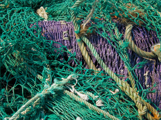 Trocknende Fischernetze
