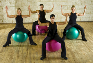 Exercise on fitness ball