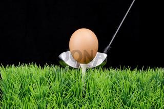 Egg on golf tee
