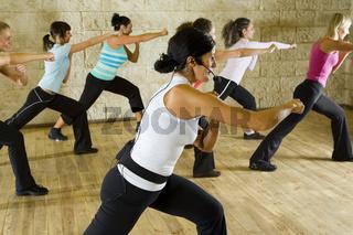 Group of exercising women