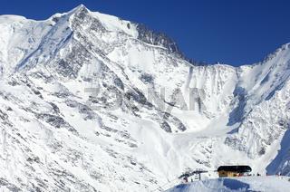Im Skigebiet Saint-Gervais, Frankreich