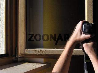 Fenster Holzlasursanierung Schleifgerät