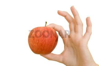 Okay-Zeichen mit Apfel
