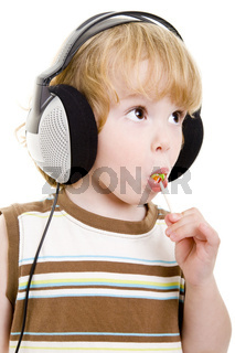 Kopfhörer und Lolli