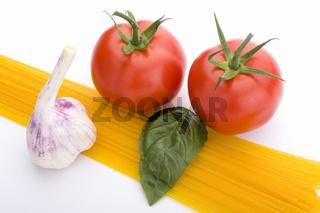 spaghetti, tomato, basil and garlic