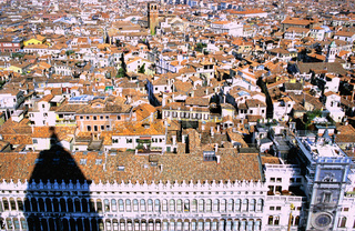 Piazza di San Marco Saint Mark square Procuratie Nuove, Rooftops in sunlight, Venice, Italy