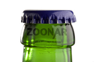 detail of a green beer bottle