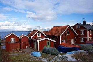Schwedenhäuser im Winter