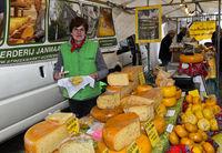 Käsestand auf dem Käsemarkt, Gouda, Niederlande