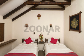 Room interier in a traditional hotel in Chivay, Arequipa, Peru