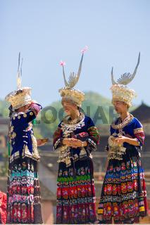 Miao Minority Women Festival Clothes Headdress