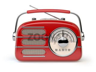 Red vintage retro radio receiver isolated on white.