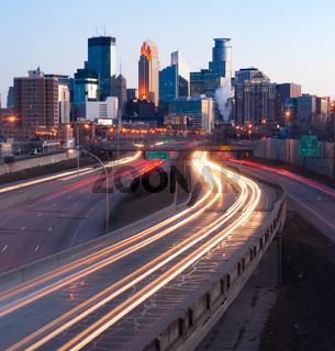 Interstate Traffic Moving Metro Highway Minneapolis Minnesota City Skyline