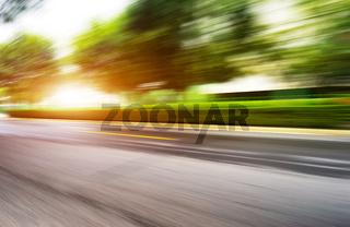blur empty suburb road
