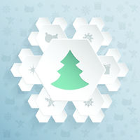 Christmas greeting with snowflake shaped hexagons