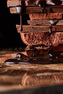 Heap of broken pieces chocolate