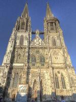 Regensburg Cathedral against blue sky, Germany