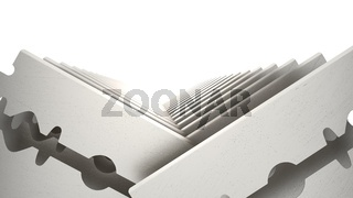 Metal Razor Blade Set Isolated on White Background. 3d illustration