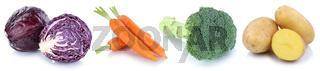 Gemüse Kartoffeln Karotten frische Freisteller freigestellt isoliert in einer Reihe
