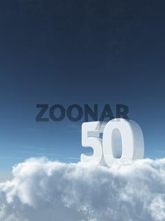 die zahl fünfzig auf wolken - 3d rendering