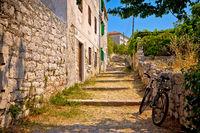 Old stone mediterranean village walkway on Prvic island