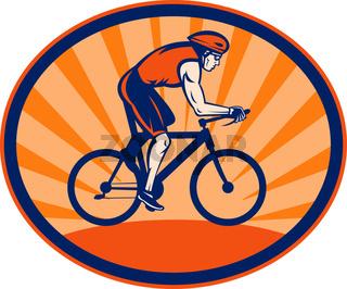 Triathlon athlete riding cycling bike