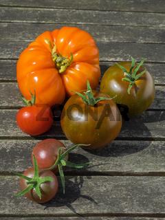 Verschiedene Sorten von Tomaten Solanum lycopersicum auf hölzernem Untergrund