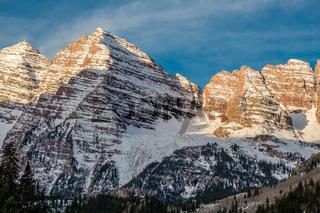 Maroon Bells mountains in snow in Colorado