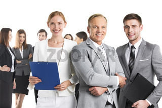 Smiling business leaders