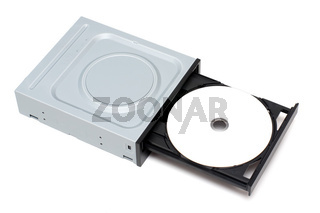 DVD Drive with disk isolated on a white background