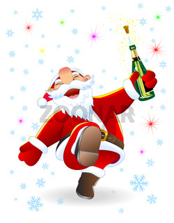 Joyful Santa with a bottle