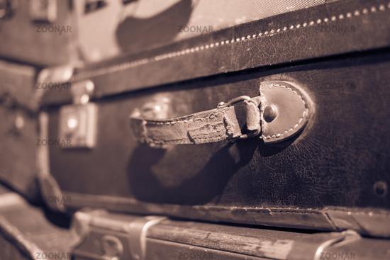 vintage suitcase handle closeup - old suitcase macro -