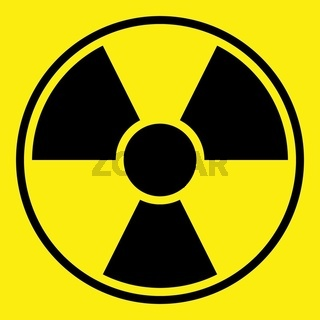 Round radiation warning sign on yellow background