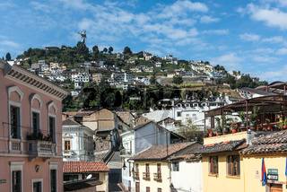 Historical center of old town Quito in northern Ecuador in the Andes mountains