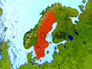Sweden in red
