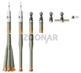 Hi-detailed space rocket with spaceship