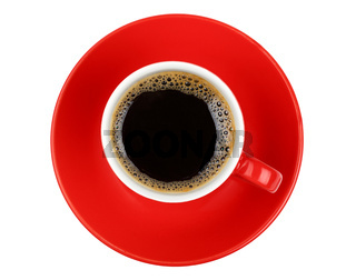 Americano coffee in red cup isolated on white
