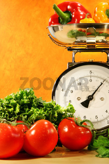 Vegetables on the counter surface