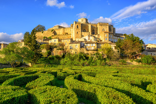 Labyrinth garden and castle Grignan, Drome, France